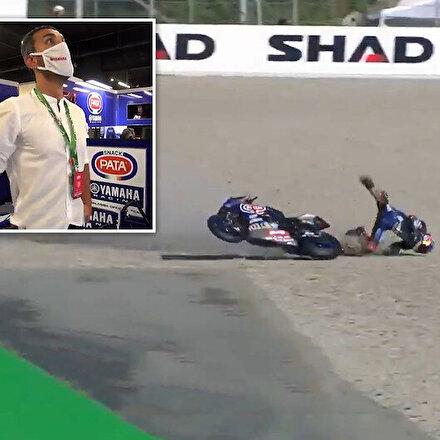 Milli motosikletçi Toprak Razgatlıoğlu ısınma turlarında kaza geçirdi