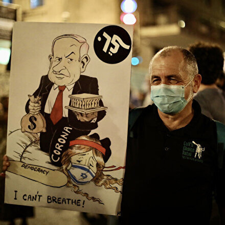 Netanyahu karşıtı binlerce kişi sokağa döküldü