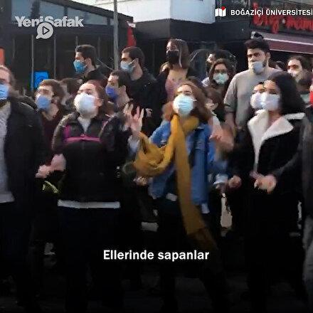 Boğaziçi Üniversitesinde toplanan gruptan DHKP-C marşı: Ellerinde sapanlar vuruyor bu çocuklar