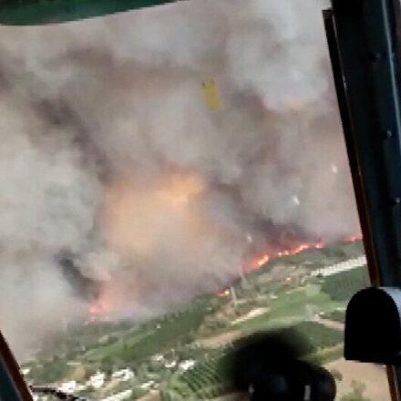 Manavgatta dev orman yangın havadan böyle görüntülendi