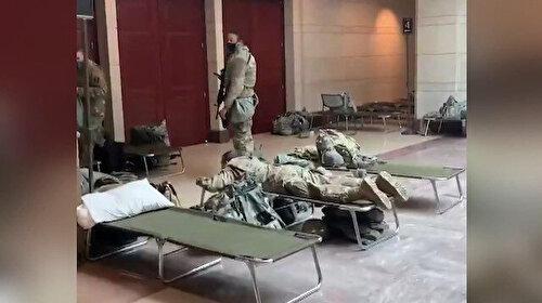 Yerde yatan askerlerin görüntüsü tepki çekmişti: ABD Kongre binasına askeri sedye yığını