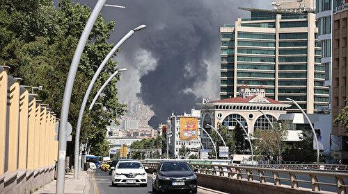 Ankara'da YHT garı binası yanındaki inşaatta yangın