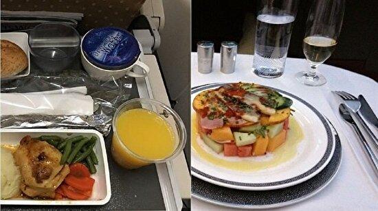 First class ve economynin yemeklerinin karşılaştırılması