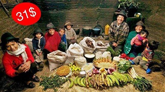 Dünyadaki yemek alışkanlıkları ve harcanan giderin fotoğraf kareleriyle haftalık bilançosu