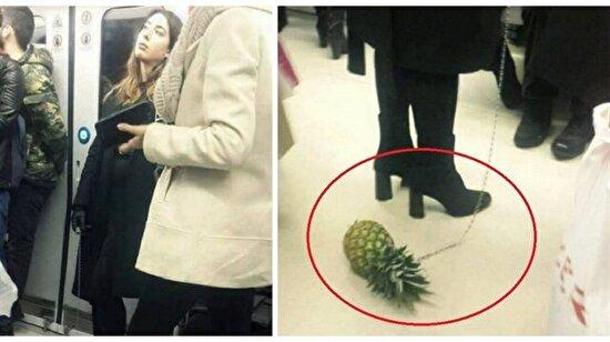 Şaka değil: Metroda tasmayla ananas gezdiren tuhaf kadın