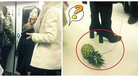 Metroda ananas gezdiren kadının sırrı ortaya çıktı
