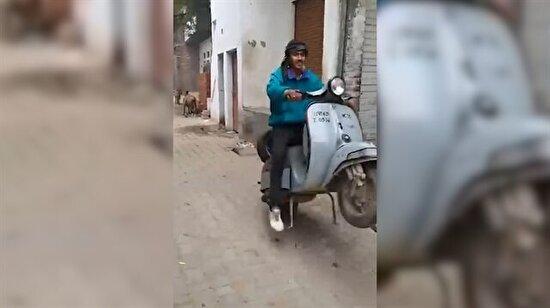 Motosikletle şov yapmak isterken rezil olan genç