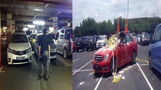 Engellilerin yerine park eden araçlara verilen ibretlik cezalar