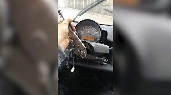 Direksiyonsuz araba kullandı!