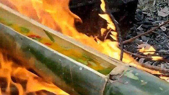 Bambuda yumurta kırma