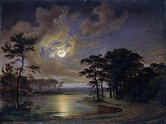 Hem ürkütücü ve huzur verici... Johann Georg Haeselich'den gece manzarası