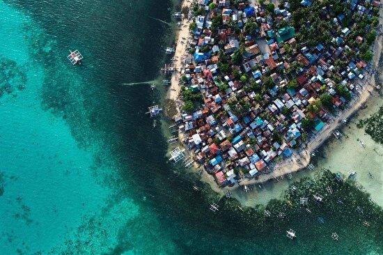 Filipinler'deki Cebu şehrinin yukardan görüntüsü... Şehir Filipinler'in en yoğun nüfuslu şehri