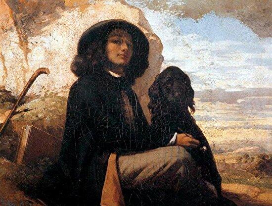"""Gustave Courbet'in """"Siyah Köpek ile Otoporte"""" adlı eseri, 1841"""