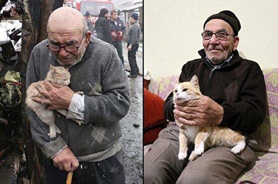Ali Dede artık yeni evinde kedileriyle mutlu