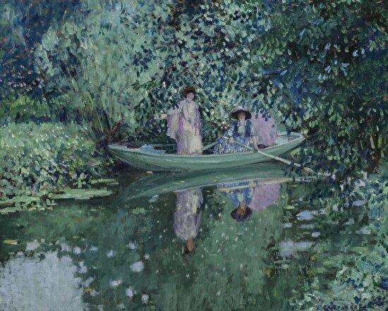 """""""Nehirdeki Gri Gün"""" Frederick Carl Frieseke (1908)"""