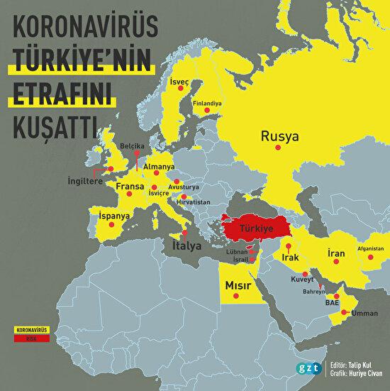 Koronavirüs tehlikesi sınırımıza dayandı