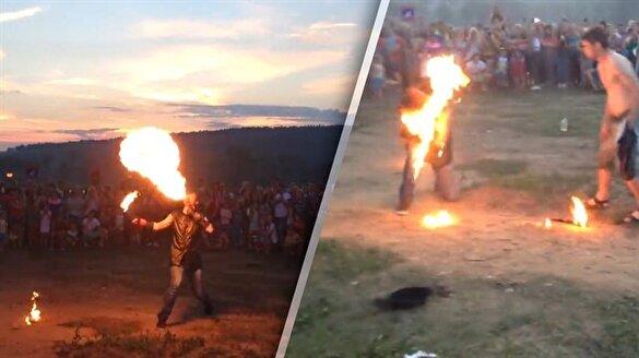 Ateş cambazı feci şekilde yandı