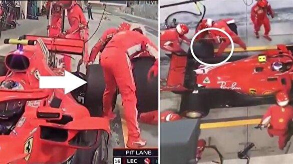 Kimi Raikkonen'in, mekanikerin bacağını ezdiği en net görüntüler