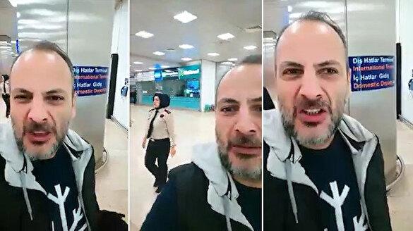 Havalimanında çektiği videoyla başörtülülere nefret kustu!