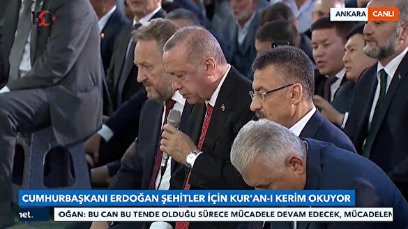 Cumhurbaşkanı Erdoğan'dan şehitlerimiz için Kur'an-ı Kerim tilaveti