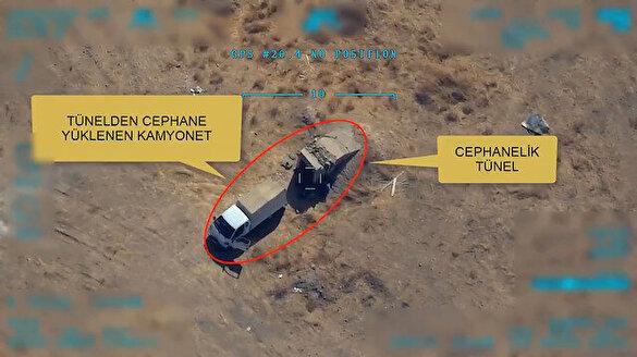 İHA'lar, mühimmat ikmali yapan YPG'li teröristleri böyle vurdu