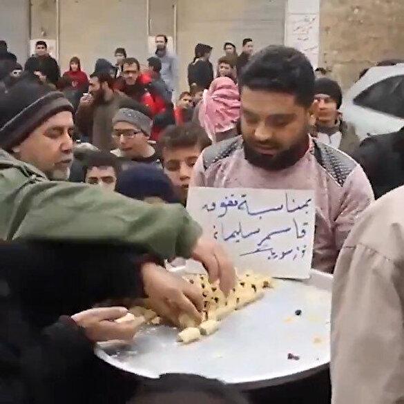 Suriye halkı Kasım Süleymani'nin saldırıda ölmesi sonucu tatlı dağıttı