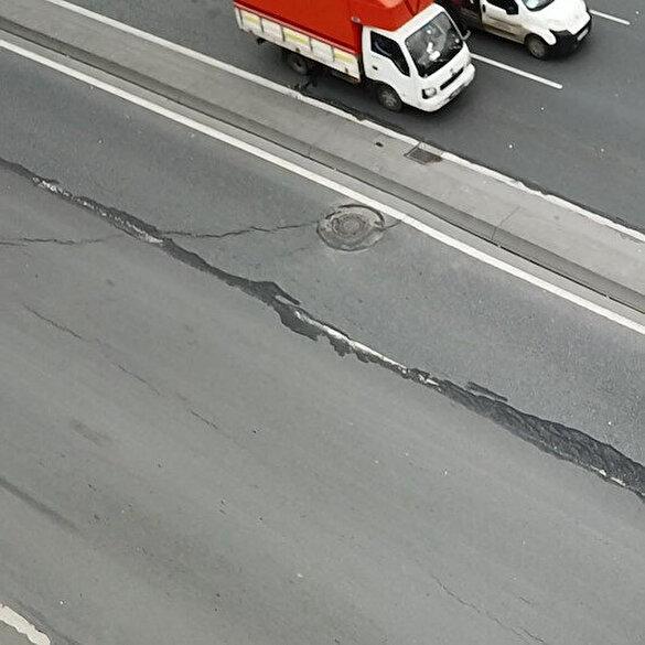 E-5 üzerindeki korkutan çatlaklar nedeniyle yol trafiğe kapatıldı