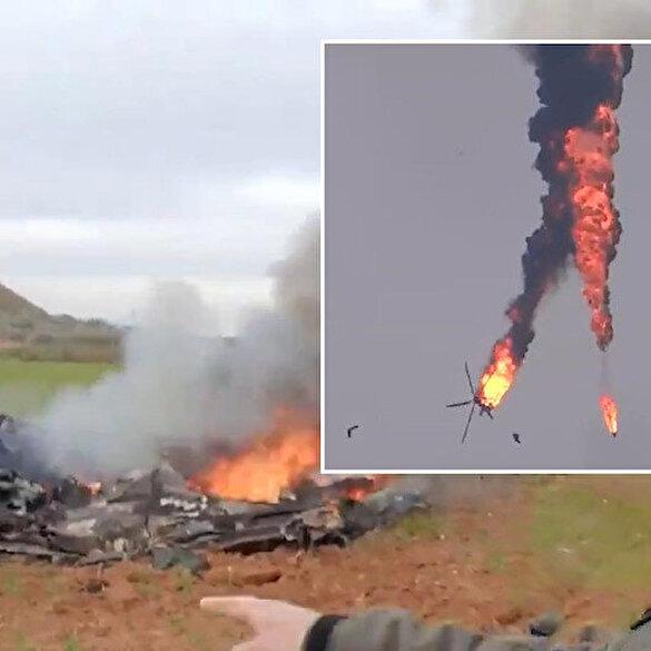 Suriye rejimine ait helikopterin düşürülme anı kamerada