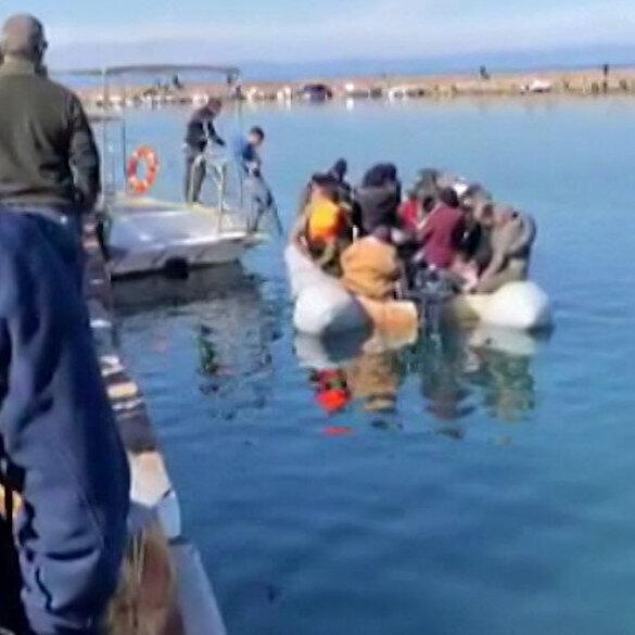 Midilli Adası'nda Yunan halkı mültecilerin kıyıya çıkmasını engelledi