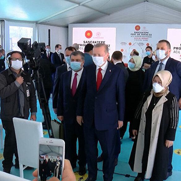 Cumhurbaşkanı Erdoğan sağlık çalışanlarıyla sohbet etti
