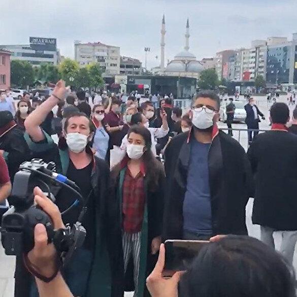 Baroların eylemi DHKP-C propagandasına dönüştü, terörist Timtik lehine sloganlar atıldı