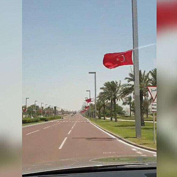 Katar sokakları Cumhurbaşkanı Erdoğan'ın gelişi şerefine şanlı Türk Bayrağı'nın renklerine büründü