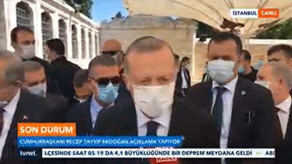 Cumhurbaşkanı Erdoğan'dan Ayasofya'da kılınan namaz sonrası ilk açıklama