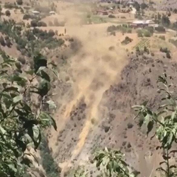 Malatya'da 5,2 büyüklüğündeki deprem anında toz bulutu oluştu