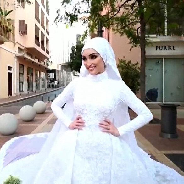 Beyrut'taki patlamaya düğün fotoğrafı çektirirken yakalandı