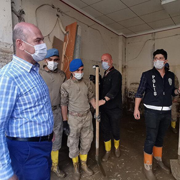 Giresun'daki sel sonrası temizlik çalışmaları için JÖH'ler devrede