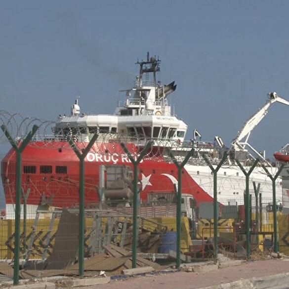 Antalya'da bakıma alınan Oruç Reis, tel çitlerin ardından görüntülendi