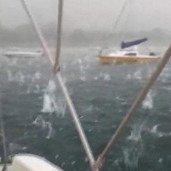 İstanbul'daki dolu yağışı denizde böyle görüntülendi: Dolu tanelerinin denize kurşun gibi düştüğü görülüyor