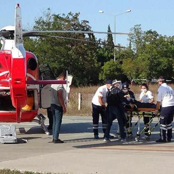 Kalp krizi geçiren yaşlı adamın yardımına ambulans helikopter yetişti