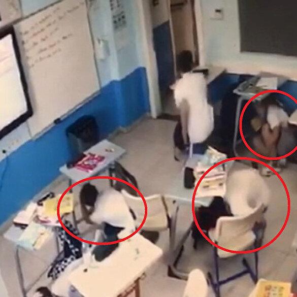 Depreme okulda yakalanan öğrencilerin bilinçli davranışları kameraya yansıdı