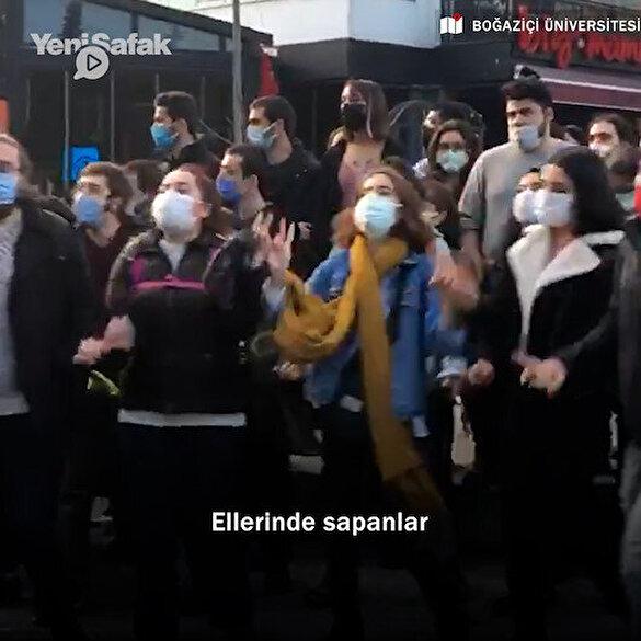 Boğaziçi Üniversitesi'nde toplanan gruptan DHKP-C marşı: Ellerinde sapanlar vuruyor bu çocuklar