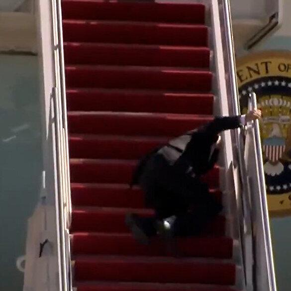ABD Başkanı Joe Biden uçağa binerken düştü