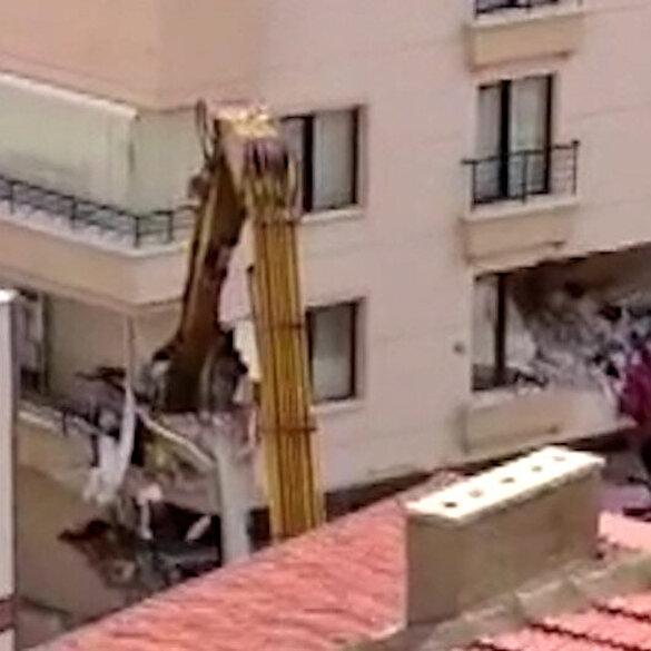 Ankara'da istinat duvarı yıkılan binada yıkım çalışmaları başladı