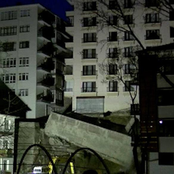 Ankara'da, temeli kayan apartmanın istinat duvarı böyle çöktü