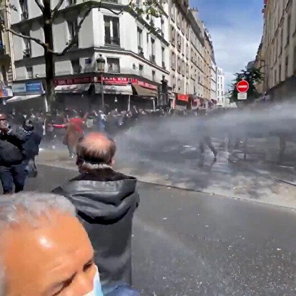 Fransa'da Filistin yürüyüşüne polisten biber gazlı TOMA'lı müdahale