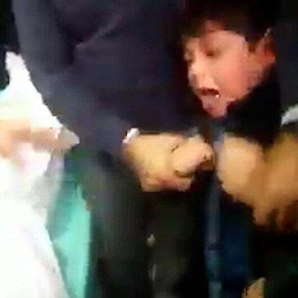 Gazze'de babasının şehit düştüğünü gören Filistinli çocuk gözyaşlarına boğuldu