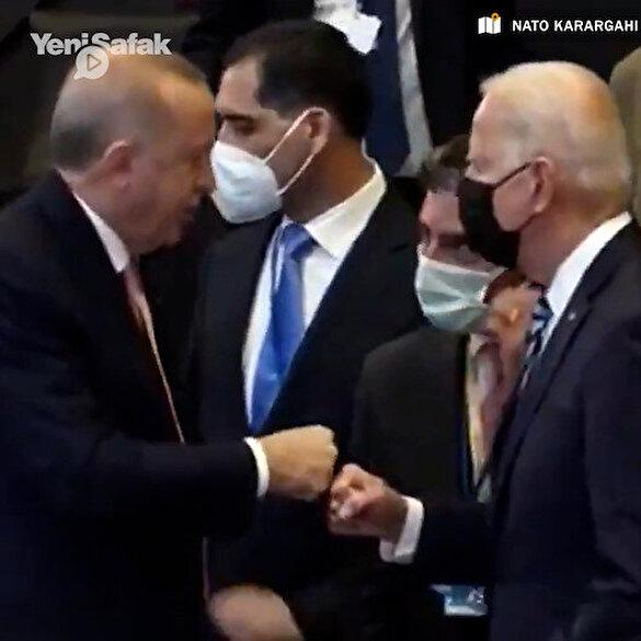 ABD Başkanı Biden NATO zirvesinde Cumhurbaşkanı Erdoğan'ın yanına giderek selam verdi