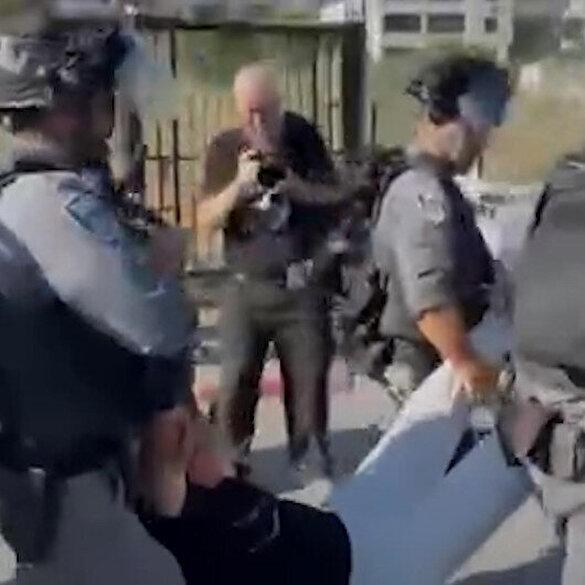 İşgalci İsrail askerlerinden Filistinlilere destek olan yabancı aktivistlere sert müdahale