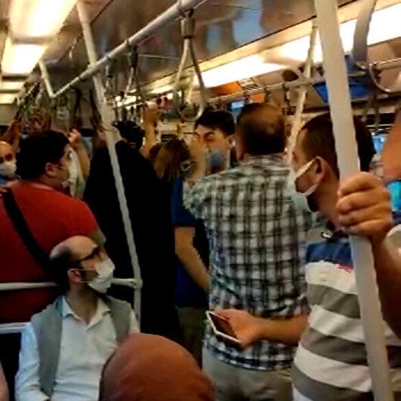 Metroda maske kavgası kamerada