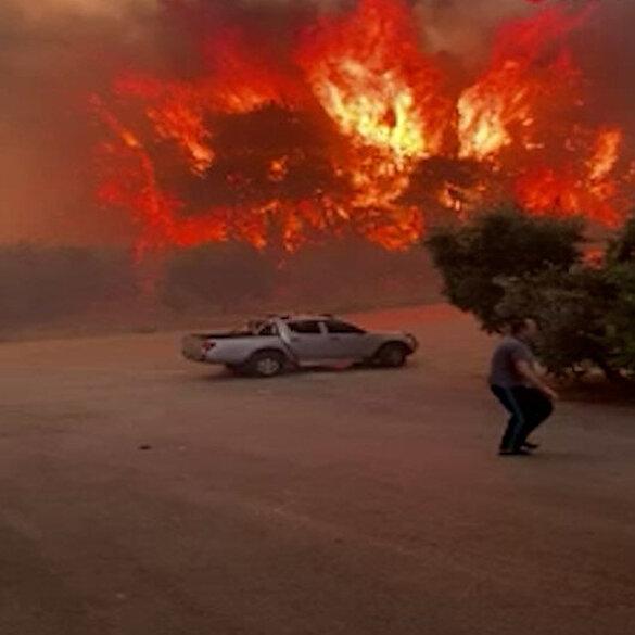 Manavgat'ta yangın yerleşim yerlerine ulaştı: Panik anları kamerada